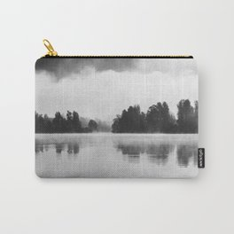 Morning fog above the lake in black and white Carry-All Pouch