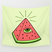 watermelon Wall Tapestries featuring watermelon by gotoup