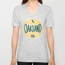 Hand Drawn Baseball for Oakland California with custom Lettering Unisex V-Neck