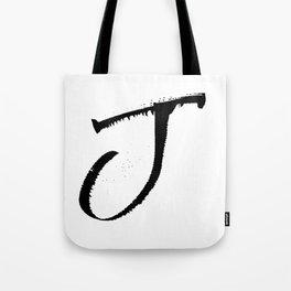 Letter J Ink Monogram Tote Bag