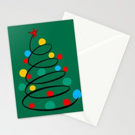 Christmas Tree Minimal Design Art Red Blue Green Stationery Cards