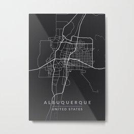Albuquerque Map Blue Metal Print