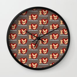 I Love Frenchies design for all the Frenchie Lovers Wall Clock