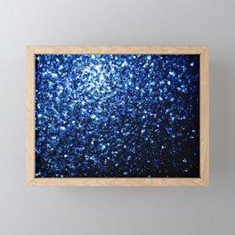 Beautiful Dark Blue glitter sparkles Framed Mini Art Print