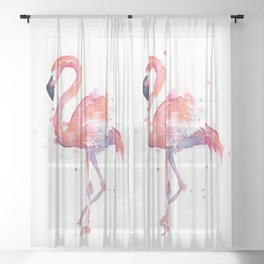 Flamingo Watercolor Sheer Curtain