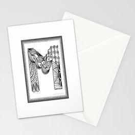 Zentangle M Monogram Alphabet Initials Stationery Cards