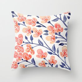 Cherry Blossoms – Peach & Navy Palette Throw Pillow