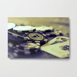 Casino Chips & Cards-B&W Metal Print