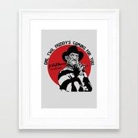 freddy krueger Framed Art Prints featuring Freddy K quote by Buby87