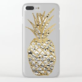 Modern Chic Marble Gold Pineapple Fruit Clear iPhone Case