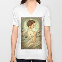 princess leia V-neck T-shirts featuring Princess Leia by trevacristina