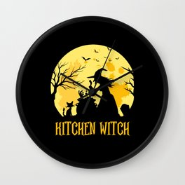 Kitchen Witch Funny Chef Cooking Halloween Gift Wall Clock