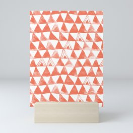 Coral Tribal Triangles Mini Art Print