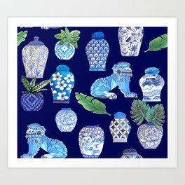 Chinese Ginger Jars and Foo Dogs, Chinoiserie, Hampton's Style Art Print