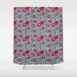 Pomegranates, Fruit, Leaves, Branches in Teals and Fuchsia Shower Curtain