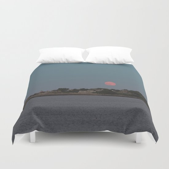 Full Strawberry Moon Rising over Rockport Duvet Cover