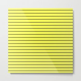 Black Lines On Yellow Metal Print