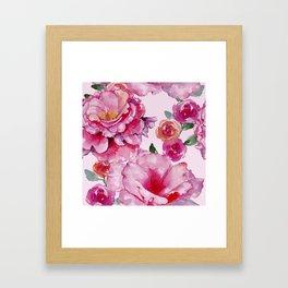 Pink on Pink Spring Roses Framed Art Print