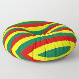 red green yellow stripes Floor Pillow