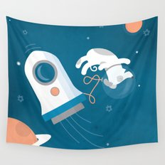 Darwin the Diddy Dog Diving into Deep Space Wall Tapestry