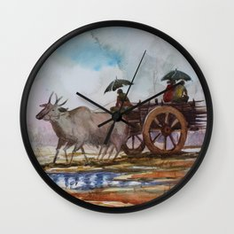 Back to home from work on rainy day - in Watercolor Wall Clock