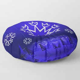 Xmas Blue with snowflake and tipi Floor Pillow