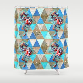 Dragon Patch Oriental Fantasy Shower Curtain
