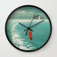 cities Wall Clocks featuring Waiting For The Cities To Fade Out by Frank Moth