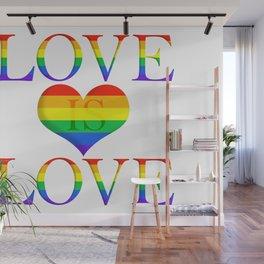 Love is Love Minimalist Pride Art With Heart Wall Mural