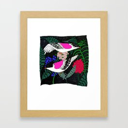 Sgraffito Birds - Bright Fuchsia Botanical Birds and Flowers Framed Art Print