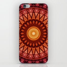 Mandala in pink ,red and yellow tones iPhone Skin