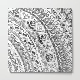 Loose Black&White Tribal Pattern Metal Print