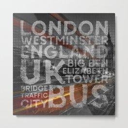 Graphic Art LONDON Westminster Bridge Traffic Metal Print