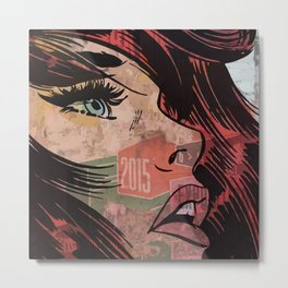 Comic girl affiche poster Metal Print