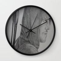 green arrow Wall Clocks featuring Arrow by Brooke Shane