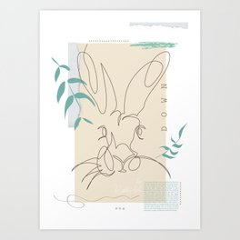 Rabbit portrait in line art style Art Print