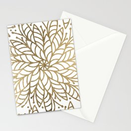 Elegant white faux gold floral trendy mandala Stationery Cards