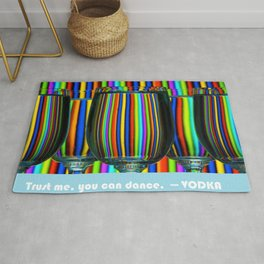 Trust me, you can dance --Vodka MEME with Colored Wine Glasses Rug