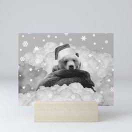 Brown Bear Santa Claus Winter Clouds Black & White Mini Art Print