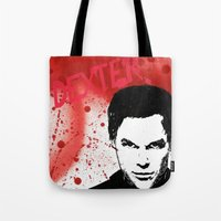 dexter Tote Bags featuring Dexter by Carolyn Campbell