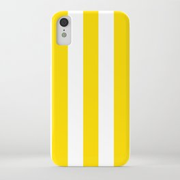 Philippine golden yellow - solid color - white vertical lines pattern iPhone Case