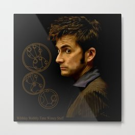 The Tenth Doctor with Gallifreyan Metal Print