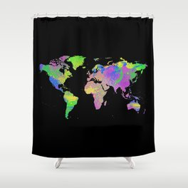 Neon & Black World Map Shower Curtain