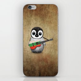 Baby Penguin Playing Bulgarian Flag Acoustic Guitar iPhone Skin