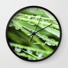 After The Rain - Green Macro Wall Clock