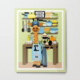 Cute Baking Giraffe in Kitchen // #Foodie Metal Print