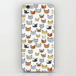 Cat Face Doodle Pattern iPhone Skin