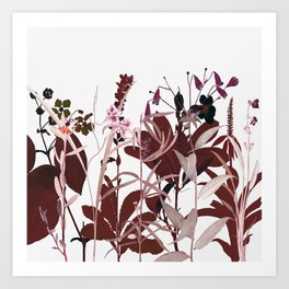 Maroon Flowers Art Print