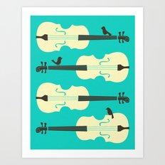 BIRDS ON CELLO STRINGS Art Print