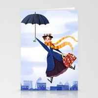 mary poppins Stationery Cards featuring Mary Poppins by giovanamedeiros